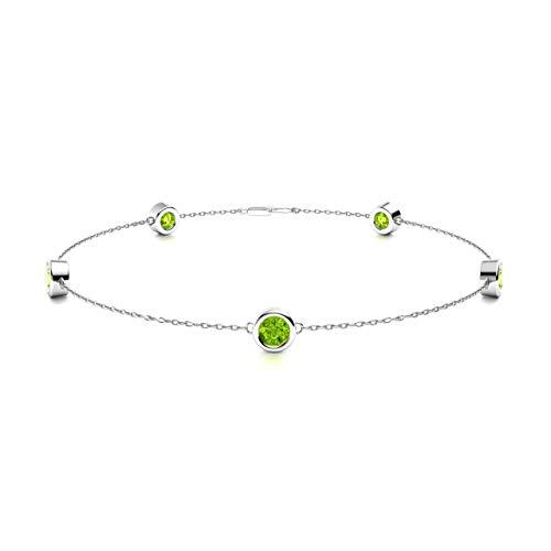 (Diamondere Natural and Certified Peridot Chian Bracelet in 14K White Gold | 0.40 Carat Bracelet for Women, Length - 7.25 inch)