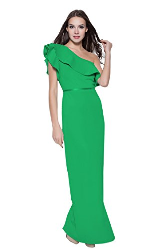 Linie Grün Rüschen A Emily Maxi Beauty One Kurzarm Shoulder Abendkleider wIqRAxxFn