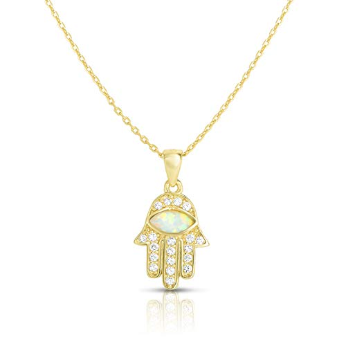 925 Sterling Silver Created Opal And Cubic Zirconia Hamsa Hand Of God Evil Eye Pendant And Necklace Adjustable To Length Of 16