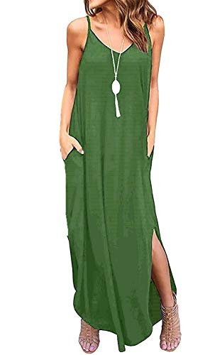 Aifer Women's Summer Floral Print Boho Long Plain Dress Spaghetti Strap V-Neck Loose Beach Cami Maxi Sundress with Pockets (Army Green, Small)