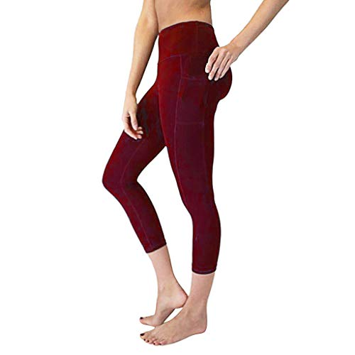 (Women Yoga Pants High-Waist Tummy Control w Pocket Tummy Control Leggings 4 Way Stretch Soft & Slim Active Pants Valentine's Day (Wine, XL))