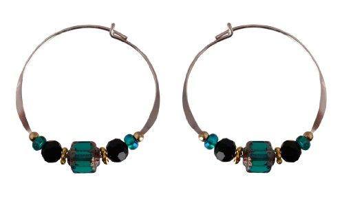 Bali Sky Large Sterling Silver Green Black Bead Hoop Earrings SHL002 ()