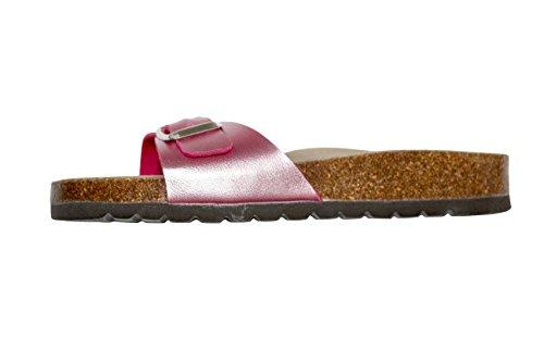 Bioline Damen Frauen Sandalen Flip-Flops Pantoffeln Lack Leder und Anatomisch Einlegesohlen Gummi und Kork Frau Fuchsia Größe 37