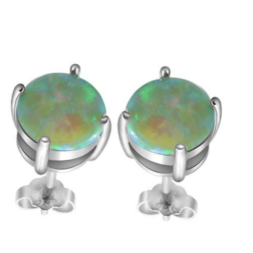FidgetFidget 8x8mm Green FIRE Australian Opal Cute .925 Sterling Silver Stud Earrings 1//4