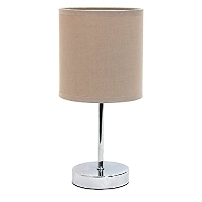 Simple Designs LT2007-RED Chrome Mini Basic Table Lamp with Fabric Shade, Red - Dimensions: 5.5 diam. x 11.7H in. Metal base with chrome and gray finish Gray fabric drum shade - lamps, bedroom-decor, bedroom - 31rzv 6xiPL. SS400  -