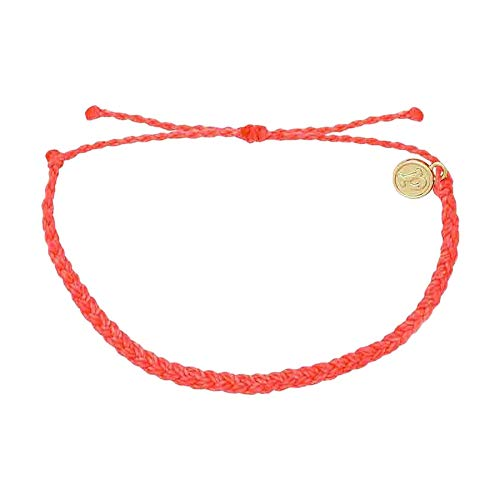 Pura Vida Strawberry Mini Braided Bracelet - Plated Charm, Adjustable Band - 100% Waterproof
