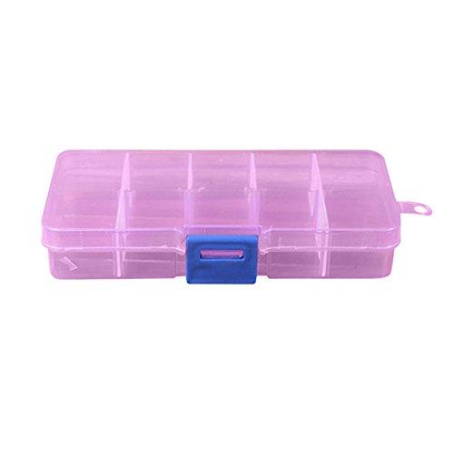 (Hide on bush Jewelry Organizer Makeup Organizer - 10 Grids Happy Gifts Adjustable Jewelry Beads Pills Nail Art Tips Storage Box Case 02 - Jewelry Box (B))