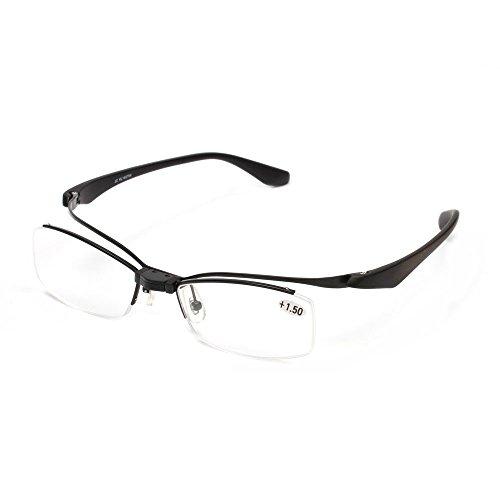 Lightweight Flip-up TR90 Reading Glasses Makeup Readers Glasses +1.0+1.5+2.0+2.5+3.0+3.5 (Black, 3.0)