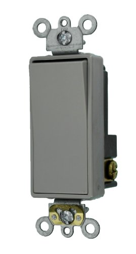 Leviton 5621-2GY 20-Amp 120/277-Volt Decora Plus Rocker Single-Pole AC Quiet Switch, Gray