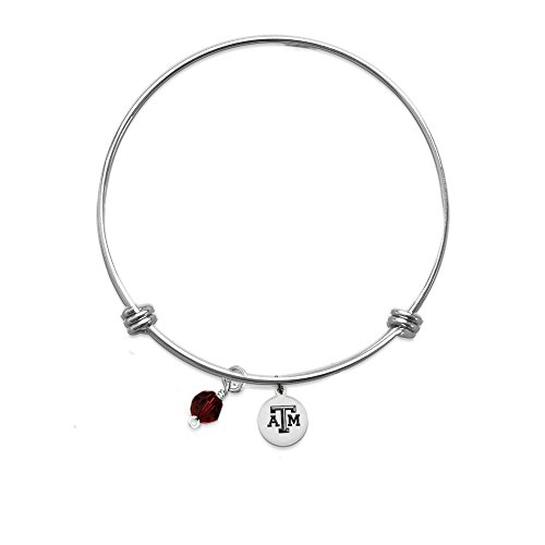 M Aggies 1 Charm - PETITE Texas A&M Aggies Bangle Bracelet With 10mm Charm - Stainless Steel (One Crystal)