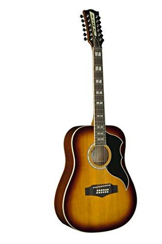 EKO Guitars 06216943 RANGER Series VR XII 12 String Dreadnought Acoustic-Electric Guitar, Honey Burst (Honey Guitar Acoustic Electric)