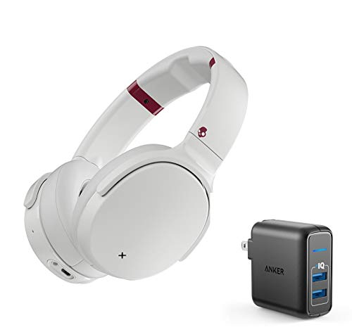Skullcandy Venue Active Noise Canceling Wireless Bluetooth Headphone Bundle with Anker 2 Ports USB Wall Charger - White/Crimson