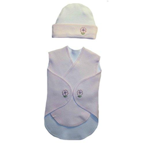 Jacqui's Baby Girls' Pretty Pink Flowers Snuggler Wrap Set, Preemie
