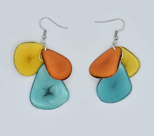 Tagua Nut Earrings in Yellow, Aqua and Orange