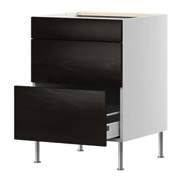 Marvelous IKEA(イケア) FAKTUM ベースキャビネット 引き出し3段付 ネクスス ブラウンブラック