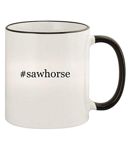 #sawhorse - 11oz Hashtag Colored Rim and Handle Coffee Mug, Black