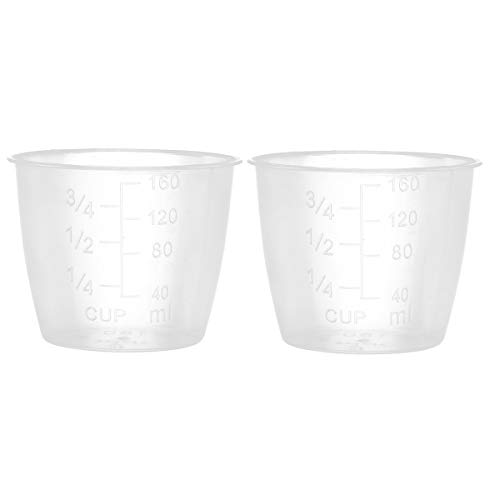 CHICTRY Rice Measuring Cups Clear Plastic Electric Rice Cooker Replacement Cups Kitchen Supplies with Both standard and metric measurements 2 Pack One ()