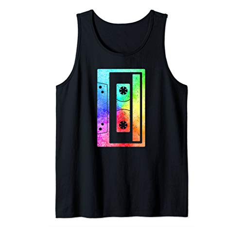 Cassette Tape Vintage Retro Rainbow 80s Music Lover Costume Tank Top -