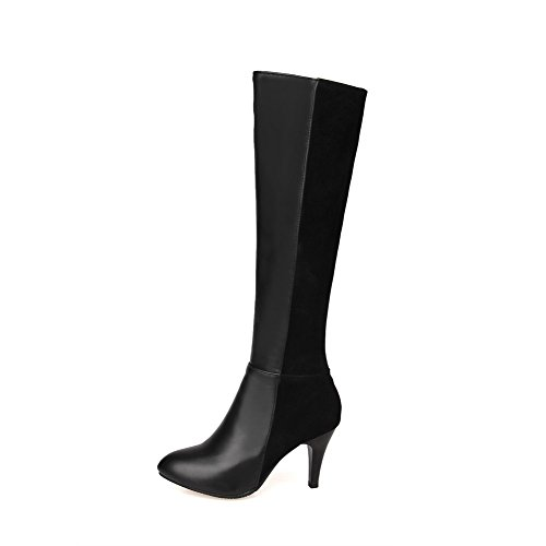 Black toe Zipper AmoonyFashion toe Boots heels Women's Closed Side High Round with ZqEA6P