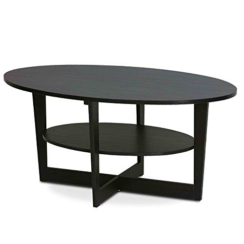 Low Coffee Table Walnut Oval Cocktail Table with Storage Shelf Tea Table Geometric Accent Table Reception Office Home Contemporary Modern Living Room Furniture & eBook by BADA Shop