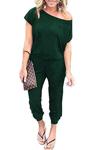 PRETTYGARDEN Off Shoulder Sleeve Hollow Out Sexy Women Bodycon Long Jumpsuit Rompers (Large, 600089 Dark Green) ()