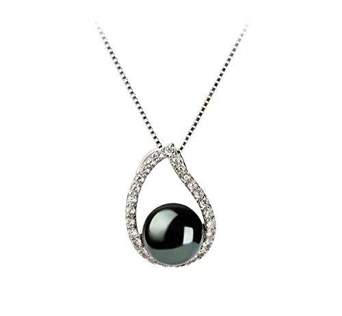 Noir 9-10mm AA-qualité perles d'eau douce 925/1000 Argent-un set en perles