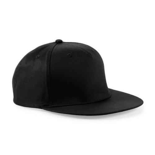 Beechfield - Gorra/Visera diseño Rapero/Rapper/Hip Hop/NBA 5 Paneles Modelo Retro Negro