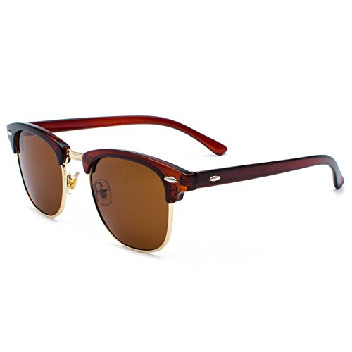 Pro Acme Classic Semi Rimless Polarized Clubmaster Sunglasses with Metal Rivets (Clubmaster Style Sunglasses)