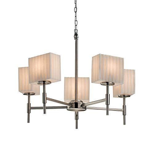 Justice Design Group Lighting PNA-8410-55-WFAL-NCKL Porcelina Union 5-Light Chandelier Rectangle Brushed Nickel Finish with Waterfall Shade, 23.25