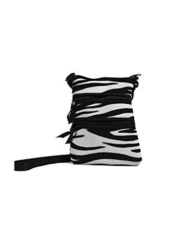 NuPouch Sling Hipster Cross Body Purse Women's Handbag, Black/White Zebra