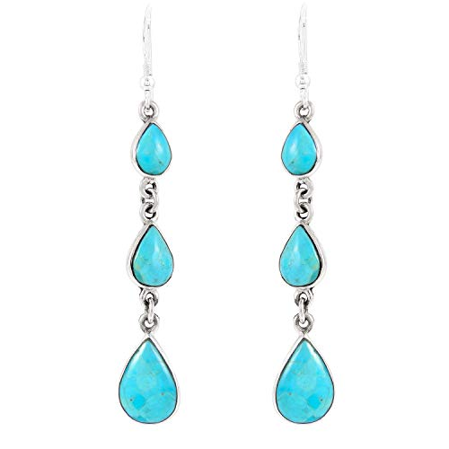 Turquoise Earrings 925 Sterling Silver & Genuine Turquoise (Select style) (Chandelier)