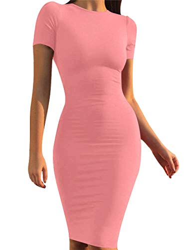 - Mokoru Women's Casual Basic Pencil Dress Sexy Long Sleeve Bodycon Midi Club Dress, X-Large, Short Sleeve Water Pink