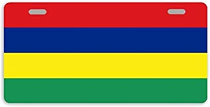 Dant454ty Mauritius Flag Decorative Front License Plate Metal License Plate Frame Cover Funny Vanity Tag for Women,for Men