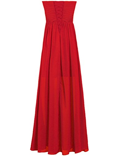Red Party Chiffon Dress Strapless Gown Long Women's Bridesmaid ANTS wvqg868