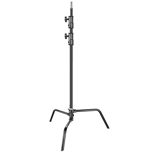 Neewer Heavy Duty Light Stand with Detachable Base, 5-10 feet/1.6-3.2 meters Adjustable C Stand with 2 Risers for Studio Photography Location Shooting, Aluminum Alloy, Max Load Capacity 22 pounds by Neewer