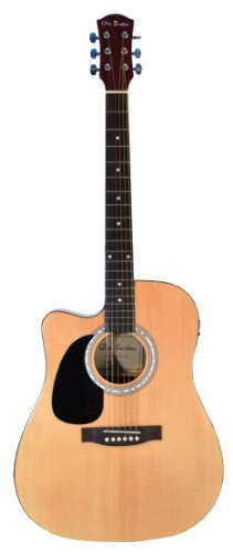 Cutaway Left Handed Natural Full Size Dreadnought Acoustic Guitar Blond - Lefty & DirectlyCheap(TM) Translucent Blue Medium Guitar Pick (ALL-PRO)