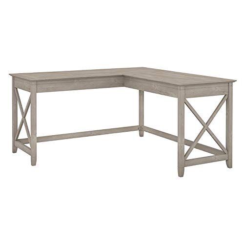 Bush Furniture KWD160WG-03 Key West 60W L Shaped Desk in Washed Gray