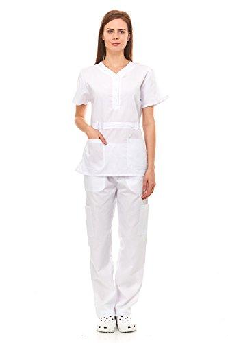 Denice Womens Medical Uniforms Kendall Faux Belted Waist Nurses Scrubs Set 1105 (2X-Large, White)