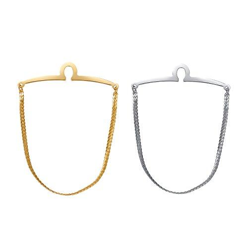 Yoursfs Tie Chain Polish Loop Men's Double Color Link Chain 2pcs Cravat Collar tie Clip by Yoursfs (Image #1)
