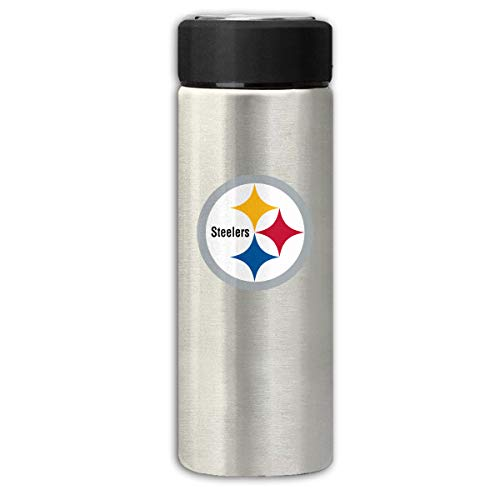 Sorcerer Gray Travel Thermos Cup 12 OZ Pittsburgh Steelers Stainless Steel Water Bottle Leak Proof Cup Cover Slip Scratch Vacuum Insulation Mug Hot/Cold Drink Coffee Bottle 350ml