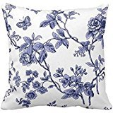 Blue Floral Toile Throw pillow case 2222
