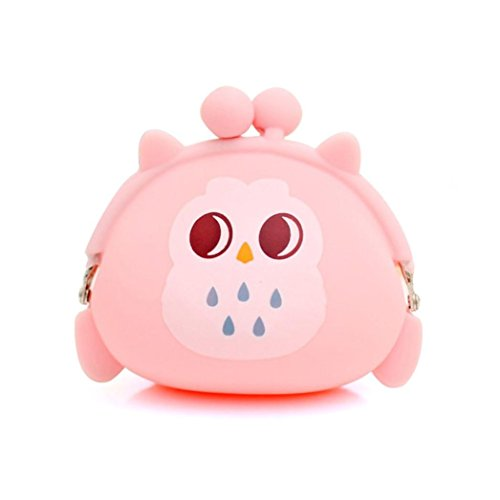 Malloom Women Girls Owl Silicone Jelly Wallet Coin Change Purse Key Pouch (Pink)