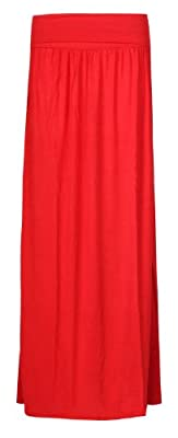 Forever Womens Plain Folded Waist Gypsy Style Full Length Maxi Skirt