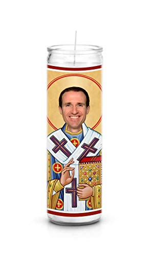 Celebrity Prayer Candles Drew Brees Funny Saint Candle - 8 inch Glass Prayer Votive - 100% Handmade in USA - Novelty Celebrity Gift