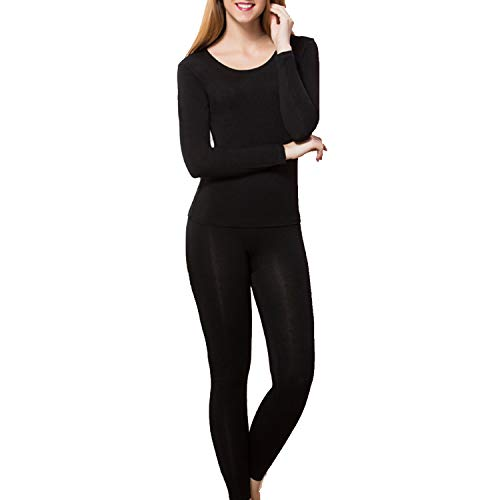 wishpower Womens Scoop Neck Long Johns Ultra Soft Thin Thermal Underwear Set