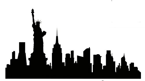 DD008 New York City Skyline Decal Sticker | 8.5-Inches By 4.4-Inches | Premium Quality Black Vinyl