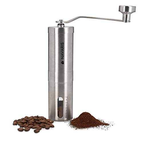 Navaris Manual Coffee Grinder - Ceramic Hand Crank Bean Mill with Adjustable Settings for French Press, Espresso, Moka, Cold Brew - Stainless Steel