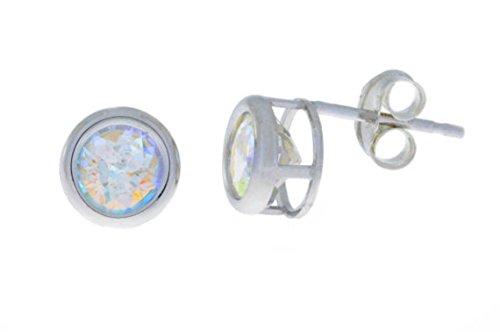 1 Ct Mercury Mist Mystic Topaz Bezel Round Stud Earrings .925 Sterling Silver Rhodium Finish