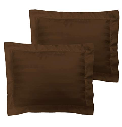American Pillowcase Egyptian Cotton Luxury Striped 540 Thread Count 2-Piece Pillow Sham Set - Square, Chocolate