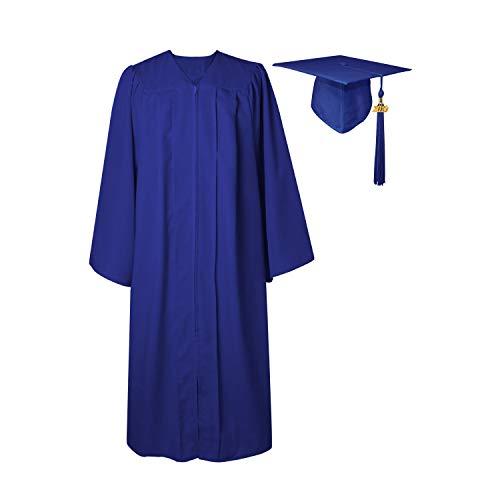 - GGS Unisex Matte Graduation Gown Cap Tassel for Bachelor/High School 2019 Year Charm Royal 45(5'0